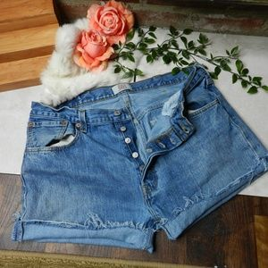 Levis Vintage 501 button fly cut off jean shorts